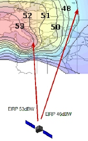 The Dbw Eirp Lines That You See On A Satellite Coverage Footprint Map Indicate The Downlink Signal Strength That You Can Expect To Receive At That Spot On